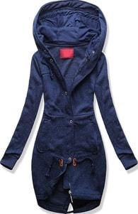MODOVO Dlouhá dámská mikina s kapucí D331 tmavě modrá - S