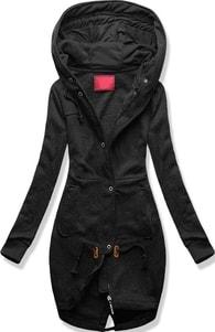 Dlouhá dámská mikina s kapucí D331 černá