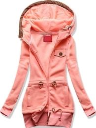 Dlouhá dámská mikina s kapucí D419 růžová