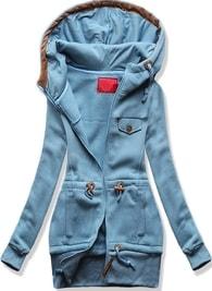 Dlouhá dámská mikina s kapucí D419 jeansová
