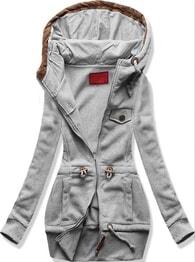 Dlouhá dámská mikina s kapucí D419 šedá