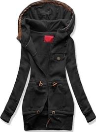 Dlouhá dámská mikina s kapucí D419 černá