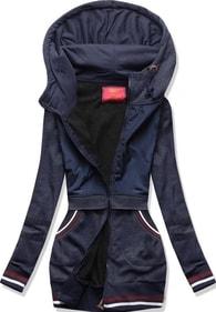 MODOVO Dlouhá dámská mikina s kapucí D425 tmavě modrá - S