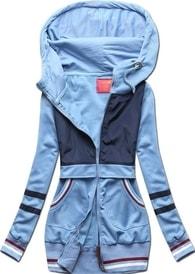 MODOVO Dlouhá dámská mikina s kapucí D425 modrá - M