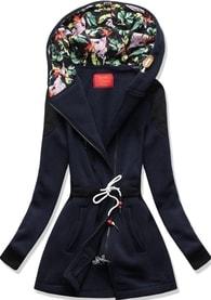 MODOVO Dlouhá dámská mikina s kapucí D542 tmavě modrá - S