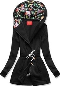 MODOVO Dlouhá dámská mikina s kapucí D542 černá - S