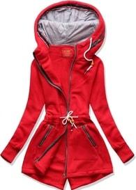 MODOVO Dlouhá dámská mikina s kapucí D545 červená - S