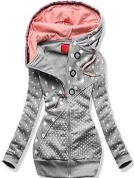 MODOVO Dlhá dámska mikina s kapucňou D539 šedá - M