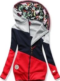 MODOVO Dlhá dámska mikina s kapucňou D549 šedo-modro-červená - M