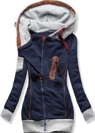 MODOVO Dlouhá dámská mikina s kapucí D550 tmavě modrá - S