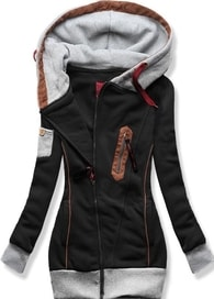 MODOVO Dlouhá dámská mikina s kapucí D550 černá - S