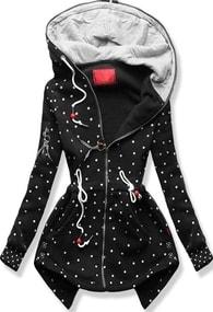 MODOVO Dlouhá dámská mikina s kapucí D537 černá - S