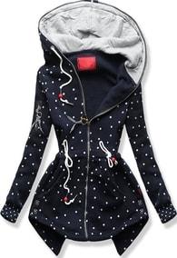 MODOVO Dlouhá dámská mikina s kapucí D537 tmavě modrá - S