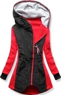 MODOVO Dlouhá dámská mikina s kapucí D530 červená - S