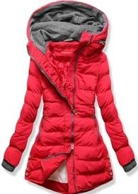 MODOVO Dámska zimná bunda s kapucňou S603 červená - S