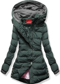 MODOVO Dámska zimná bunda s kapucňou S603 khaki - S