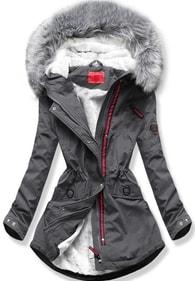 MODOVO Dámska zimná bunda s kapucňou Q35 tmavo šedá - S