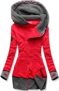 MODOVO Dlhá dámska mikina s kapucňou D560 červená - S