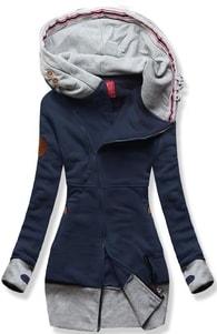 MODOVO Dlhá dámska mikina s kapucňou D560 tmavo modrá - S