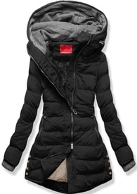 MODOVO Dámska zimná bunda s kapucňou S603 čierna - S