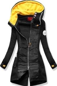 MODOVO Dlouhá dámská mikina s kapucí D532 černá - S