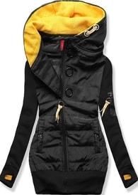 MODOVO Dlhá dámska mikina s kapucňou D531 čierna - S