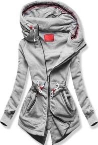 MODOVO Dlhá dámska mikina s kapucňou D545 šedá - M