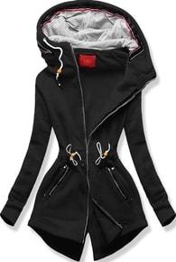 MODOVO Dlhá dámska mikina s kapucňou D545 čierna - M