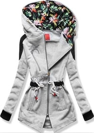 MODOVO Dlhá dámska mikina s kapucňou D542 šedá - M