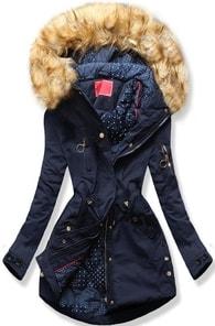 MODOVO Dámska zimná bunda s kapucňou Q32 tmavo modrá