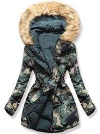 MODOVO Dámska zimná bunda s kapucňou Q-625 khaki - L