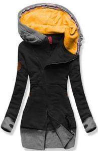 MODOVO Dlhá dámska mikina s kapucňou D560 čierna - S