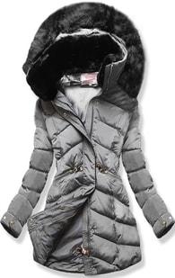MODOVO Dámska zimná bunda s kapucňou W732 šedá