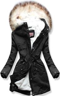 Dámska zimná bunda s kapucňou W166 čierna