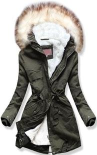 Dámska zimná bunda s kapucňou W166 khaki