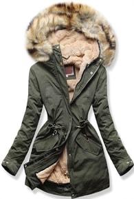 Dámska zimná bunda s kapucňou W164 khaki
