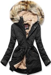 Dámska zimná bunda s kapucňou W164 čierna