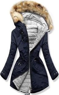 MODOVO Dámska zimná bunda s kapucňou W212 modro-šedá
