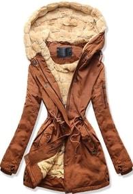MODOVO Dámska zimná bunda s kapucňou W807 hnedá 7056f3eddcd