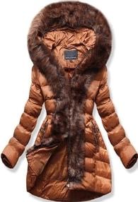MODOVO Dámska zimná bunda s kapucňou W756 hnedá - S