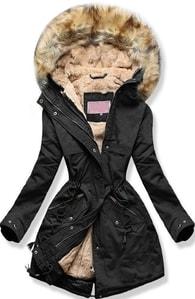 MODOVO Dámska zimná bunda s kapucňou W166-1 čierna