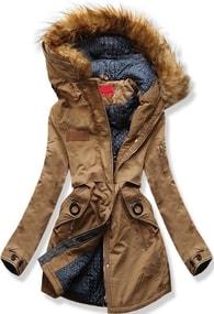 MODOVO Dámska zimná bunda s kapucňou A-16 hnedá - S