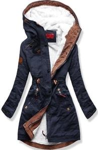 MODOVO Dámska zimná bunda s kapucňou A931 tmavo modrá - L