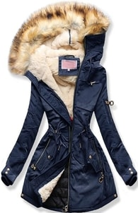 MODOVO Dámska zimná bunda s kapucňou W170 tmavo modrá - L