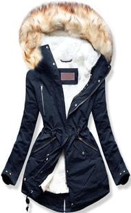 MODOVO Dámska zimná bunda s kapucňou W163 tmavo modrá - L