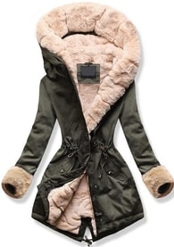 MODOVO Dámska zimná bunda s kapucňou 5513B khaki-béžová