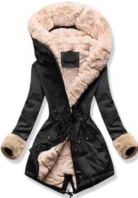 MODOVO Dámska zimná bunda s kapucňou 5513A čierno-béžová
